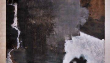 acrylique, crayon blanc et aérosol sur toile sans châssis, 160 x 160 cm, 2014