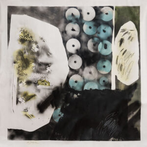 acrílico, barniz, aerosol y lápiz sobre tela sin bastidor, 160 x 180 cm, 2016