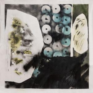 acrylique, vernis, aérosol et crayon sur toile sans châssis, 160 x 180 cm, 2016