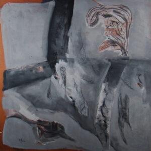 acrylique et graphite sur bois, 122 x 122 cm, 1991