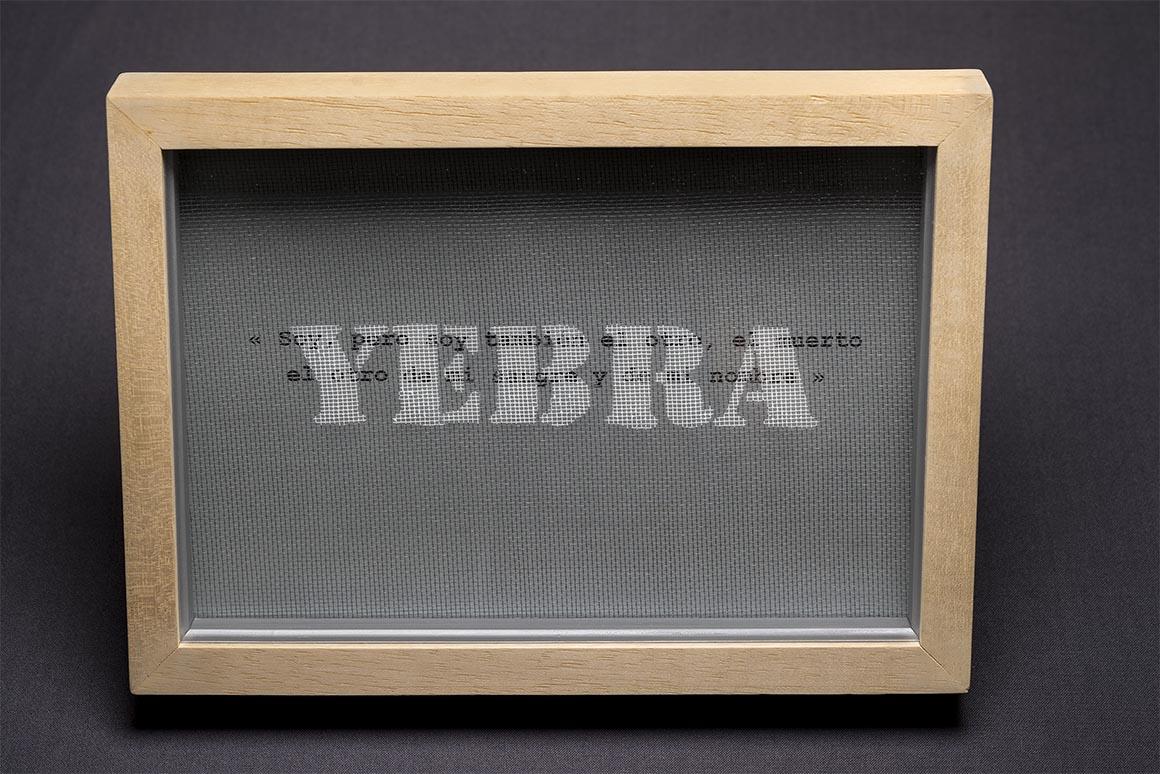 Aerosol sobre malla plástica, impresión sobre papel plateado con una cita de Jorge Luis Borges, 31,5 x 23 cm, 2018