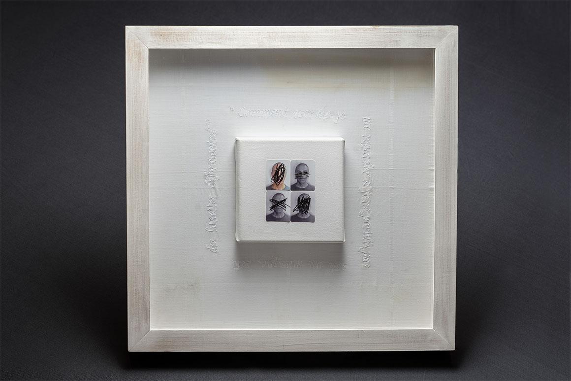 Pañuelo bordado con una cita de Michel Léris, tela sobre bastidor, 4 fotografías tipo carnet (3 en blanco y negro, 1 en color) y pluma estilográfica, 47 x 47 cm, 2018