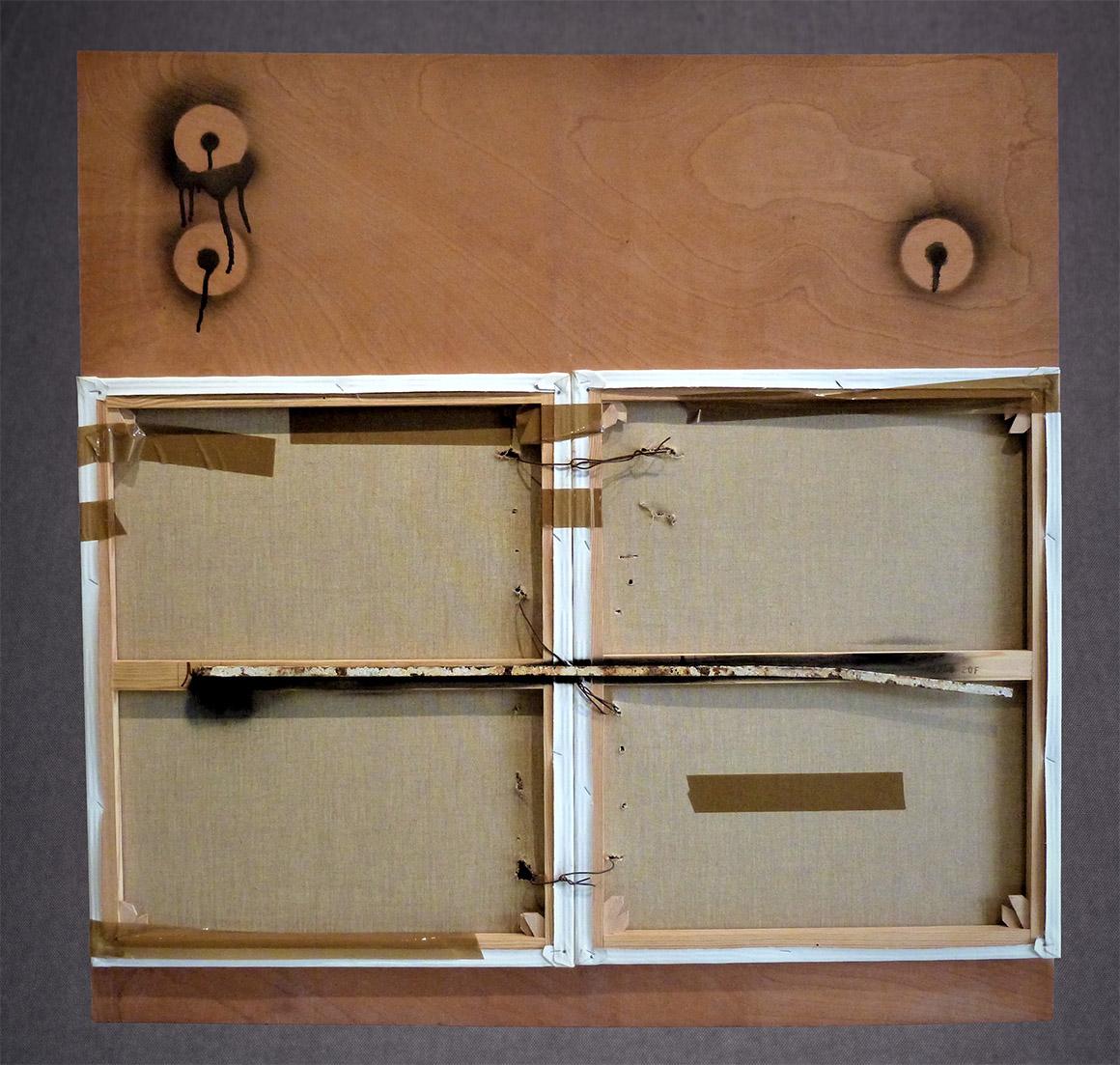 """""""Disjointed"""" telas de lino sobre bastidor, metal, aerosol y cinta adhesiva de embalar sobre madera, 122 x 122 cm"""
