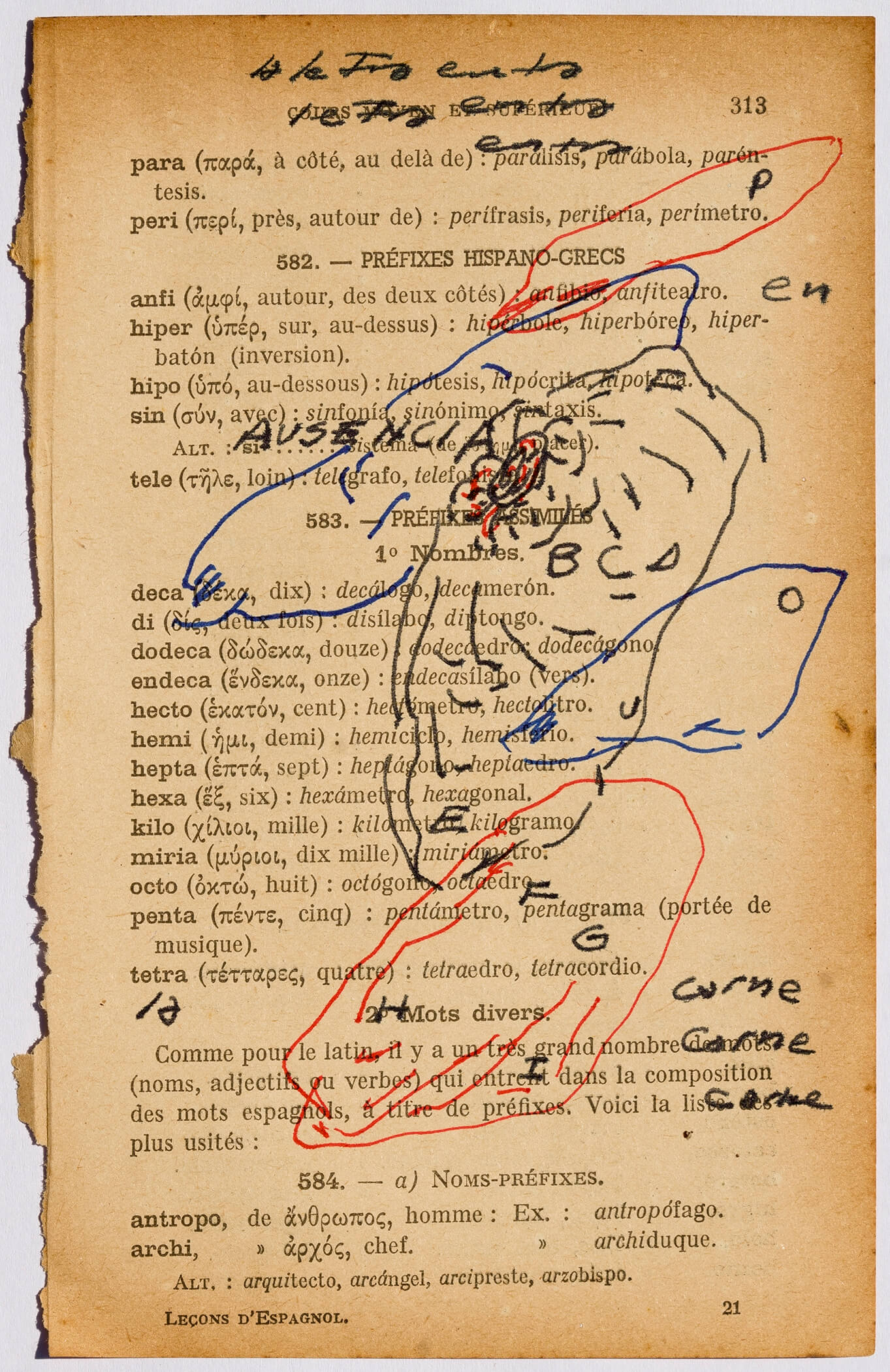 """""""The letter becomes flesh II, Spanish lessons,"""" coloured inks on old leaf from ancient Spanish grammar book in French, 4.72 x 7.09 inch.."""