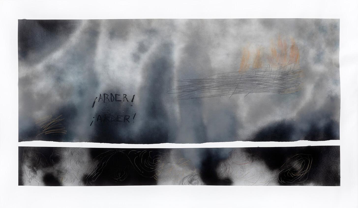 """""""Arder desde adentro"""", aerosol, acrílico, carbón, lápices de color y grafito sobre tela 1,95 x 1,40 cm, 2021"""