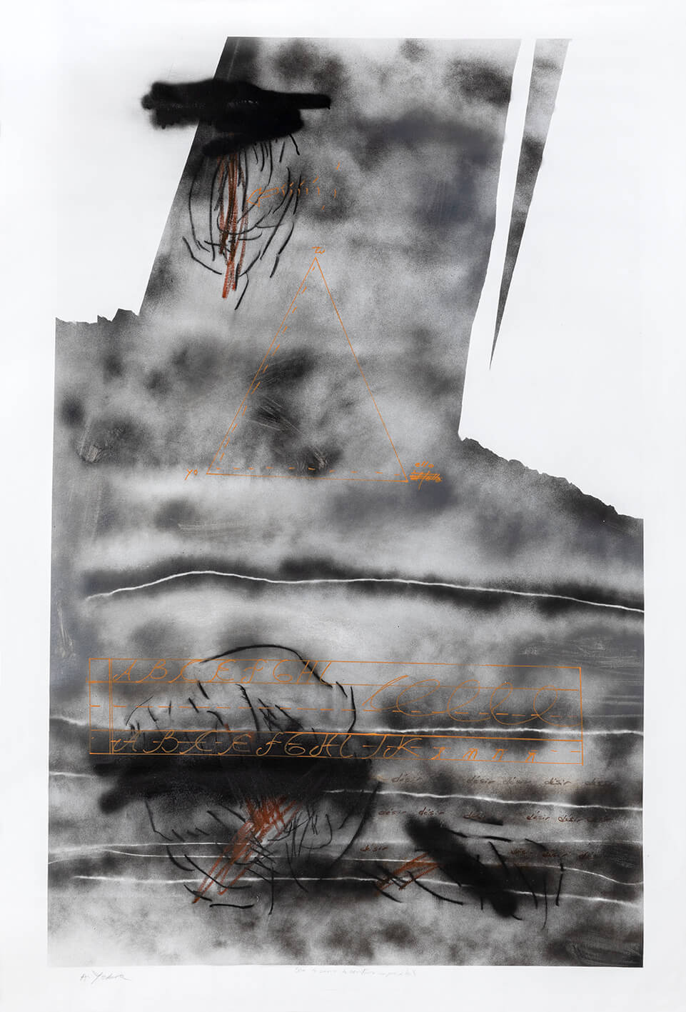 Untitled, acrylic, spray, charcoal, pastels and coloured ink on canvas, 63 x 82.63 inch.