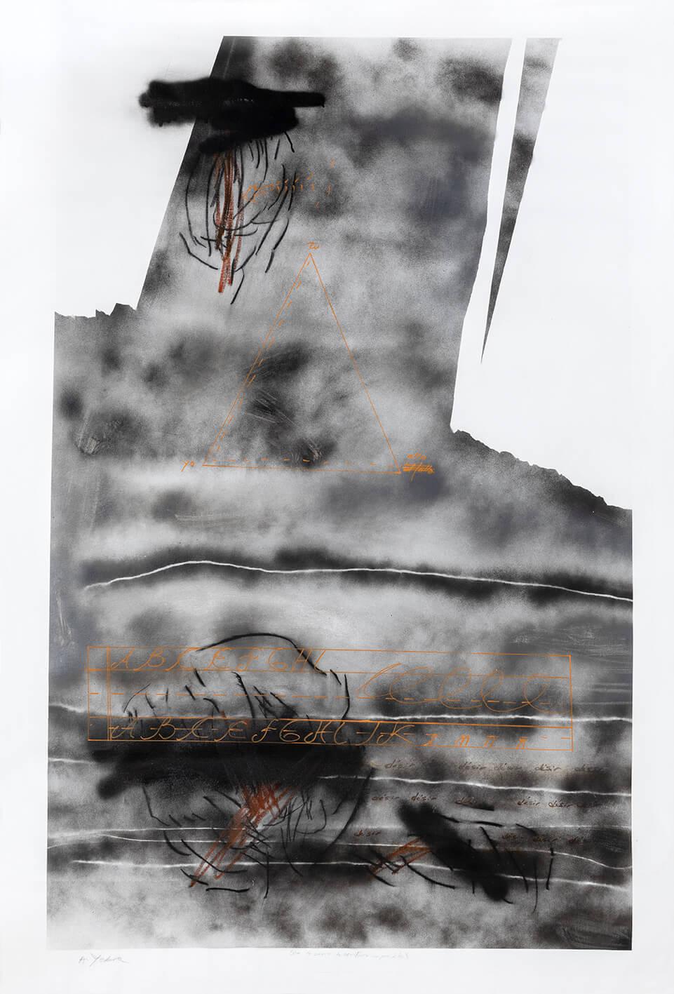 S/T acrílico, aerosol, carbón, pastel y tinta de color sobre tela, 160 x 210 cm, 2020