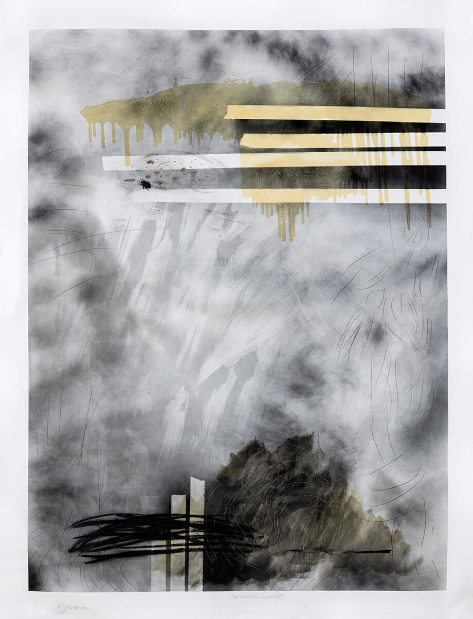 Untitled, acrylic, spray, charcoal, graphite and varnish on canvas, 63 x 82.63 inch.