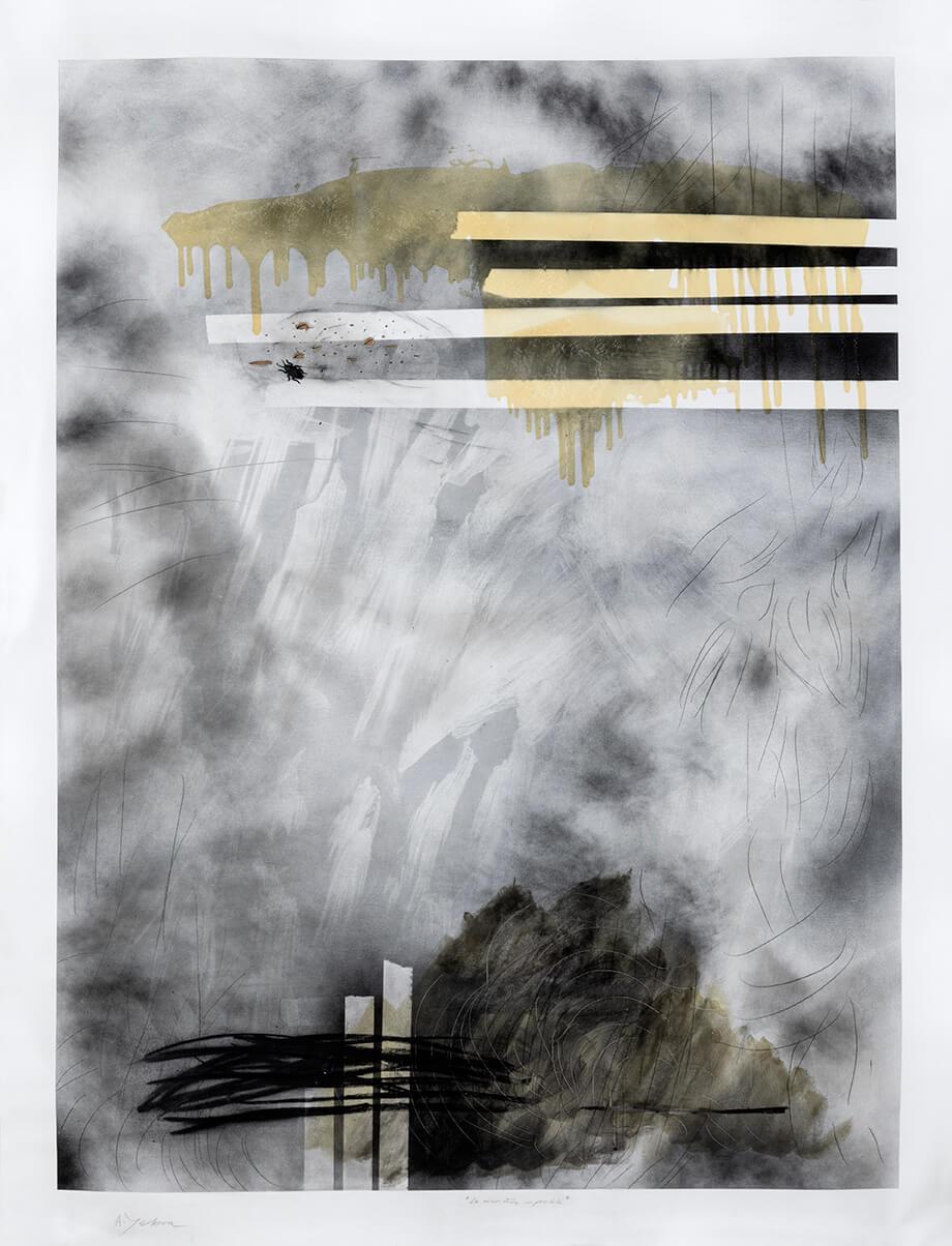 S/T acrílico, aerosol, carbón, grafito y barniz sobre tela, 160 x 210 cm, 2020