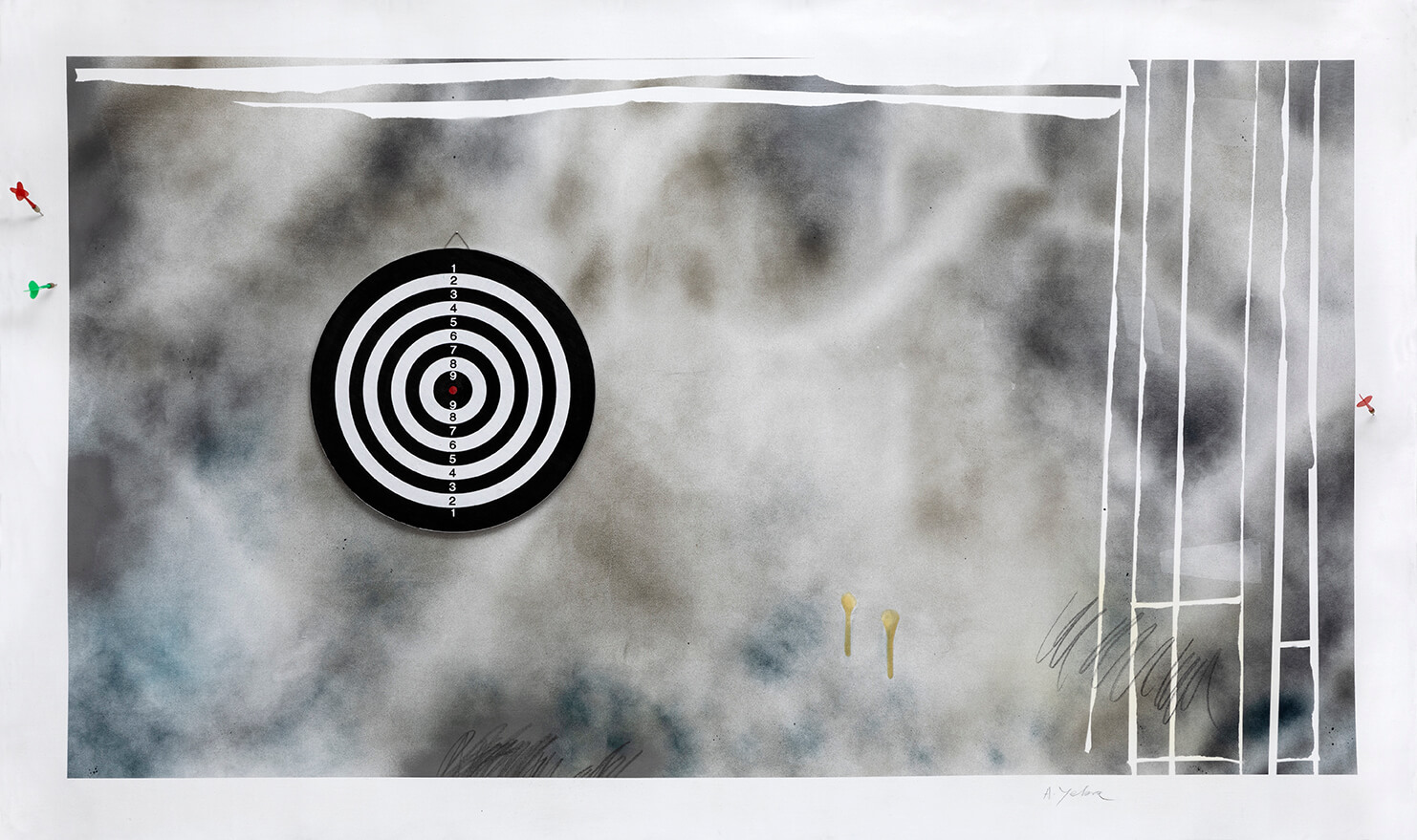 """""""The Economy of the Gaze: target, bait, prey,"""" spray, acrylic, varnish, graphite, target and darts on canvas, 76.77 x 49.61 inch"""