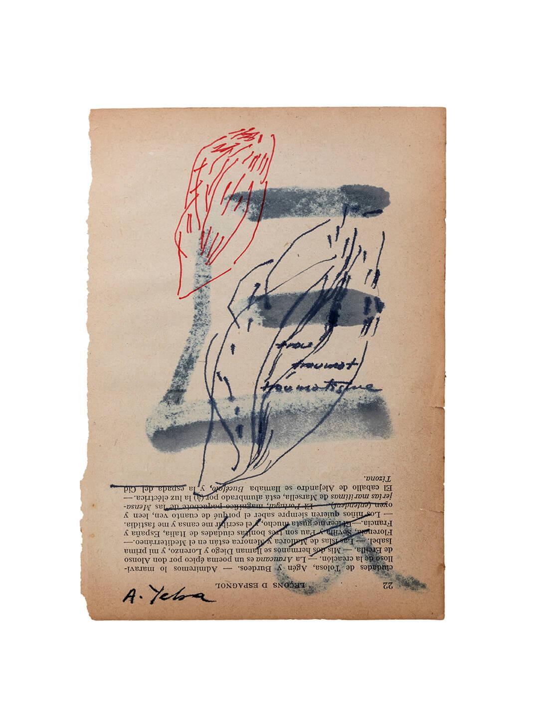 «Trou», tintas de color sobre hoja de libro antiguo de gramática castellana en francés, 12,7 x 18, 2020