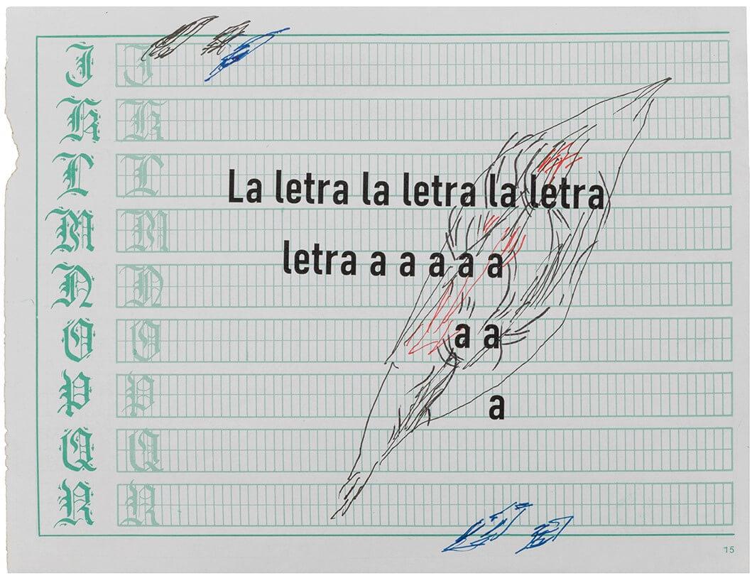 «La letra se hace carne I», tintas de color sobre hoja para caligrafía, 23 x 15,24 cm, 2020.