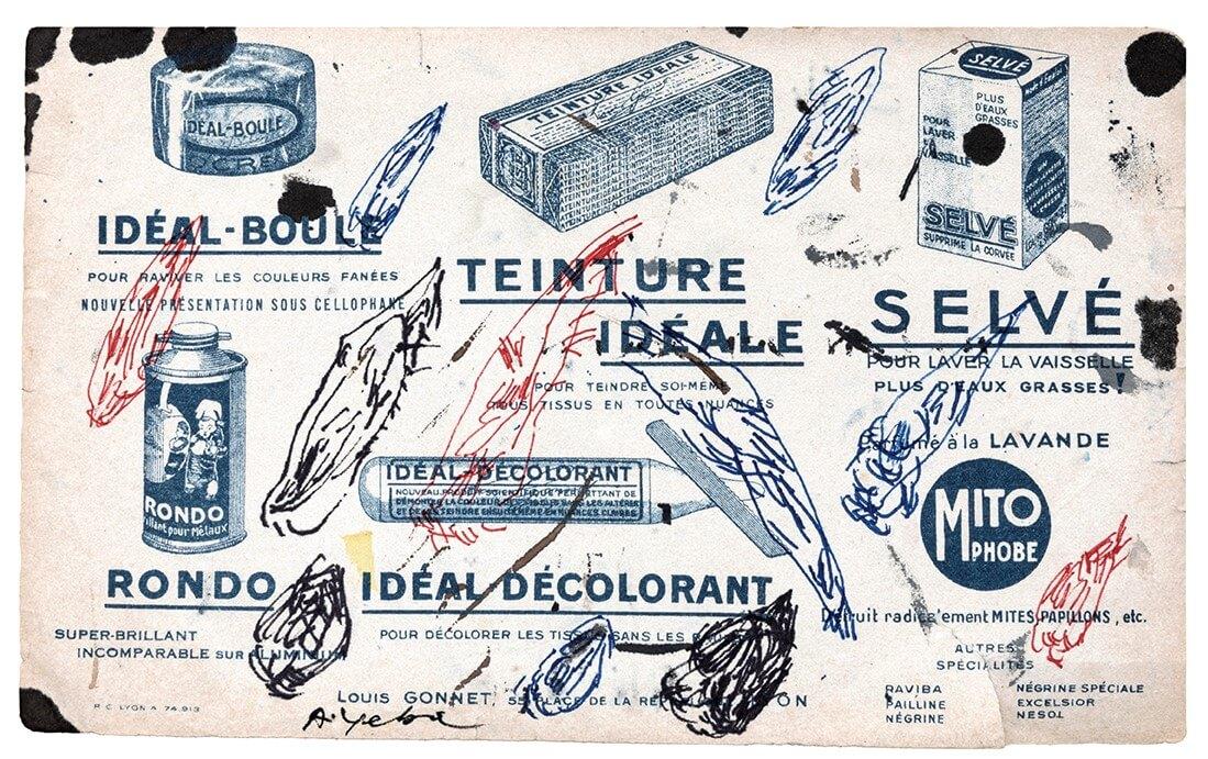 S/T, tintas de color sobre publicidad antigua, 28, 5 x 21 cm, 2020
