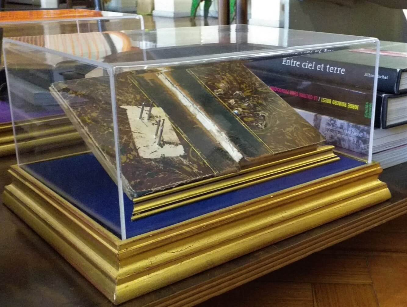 «La escritura del olvido. Notas sobre el trauma» caja de madera con tapa de acrílico transparente, forrada en terciopelo, libro antiguo, clavos, 34 x 17,5 cm, 2020.